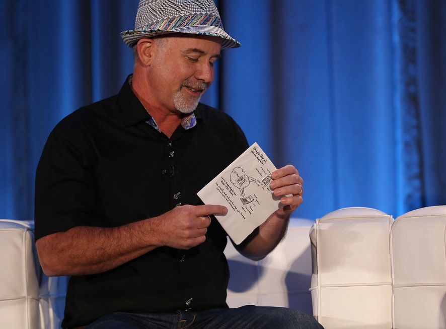 Simple Signal CEO Dave Gilbert shows off a napkin diagram, at CloudBeat 2013.