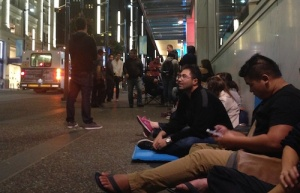 Lining up last night for the iPhone, in Vancouver, Canada.