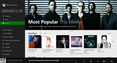 Xbox Music popular tab