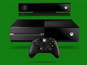 The Xbox One with the new controller and Kinect  motion sensor.