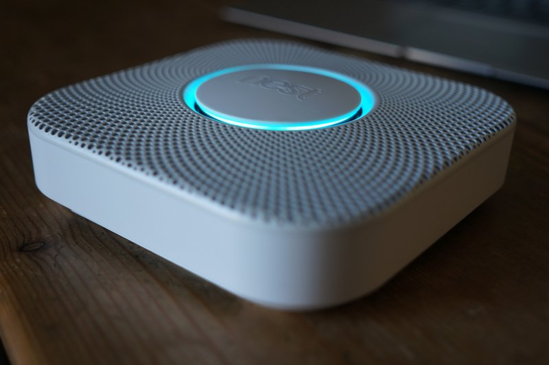The Nest Protect smart smoke and carbon monoxide detector.