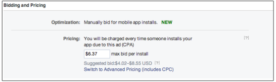 facebook cost per action mobile app ad