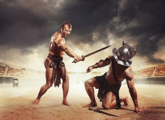 These gladiators are not Amazon employees, but they'd fit in well