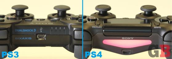 DualShock 3 vs DualShock 4 - tops, light bar