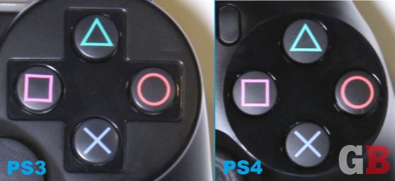 DualShock 3 vs. DualShock 4 - face buttons