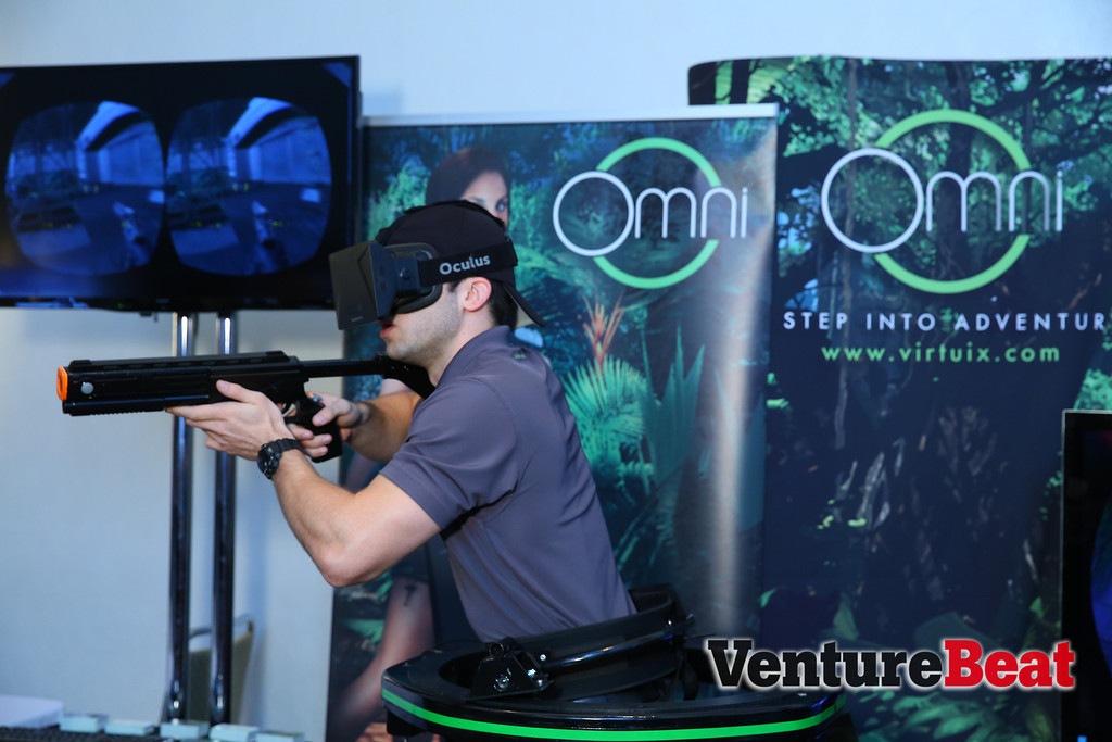 A Virtuix 360-degree treadmill plus an Oculus Rift headset makes for a terrifyingly immersive video game experience at GamesBeat 2013.