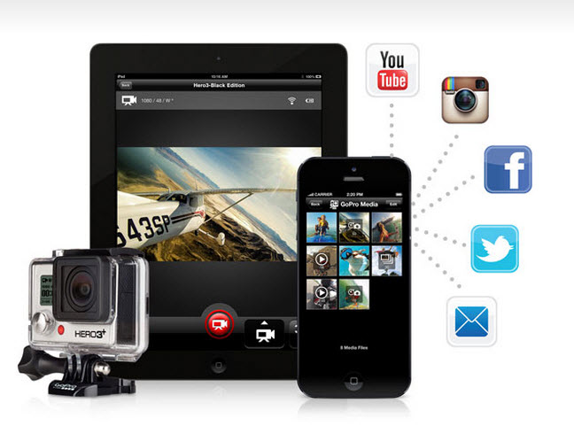 The GoPro Hero3+ lets you share video instantly.