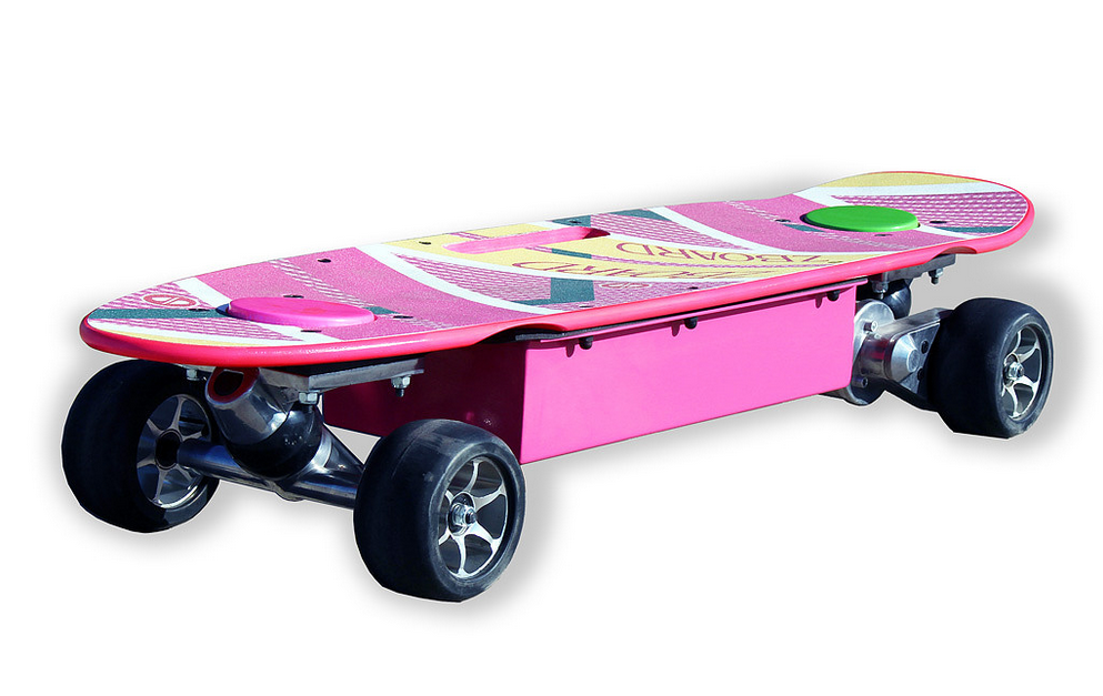 Too bad the hoverboard doesn't actually hover. Instead, it's got a powerful electric motor to drive the wheels.