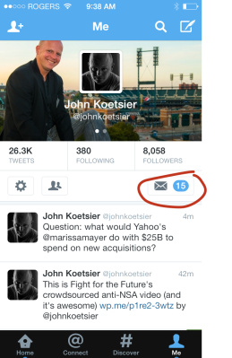 Direct messages are a tiny afterthought in Twitter's mobile apps -- and websites