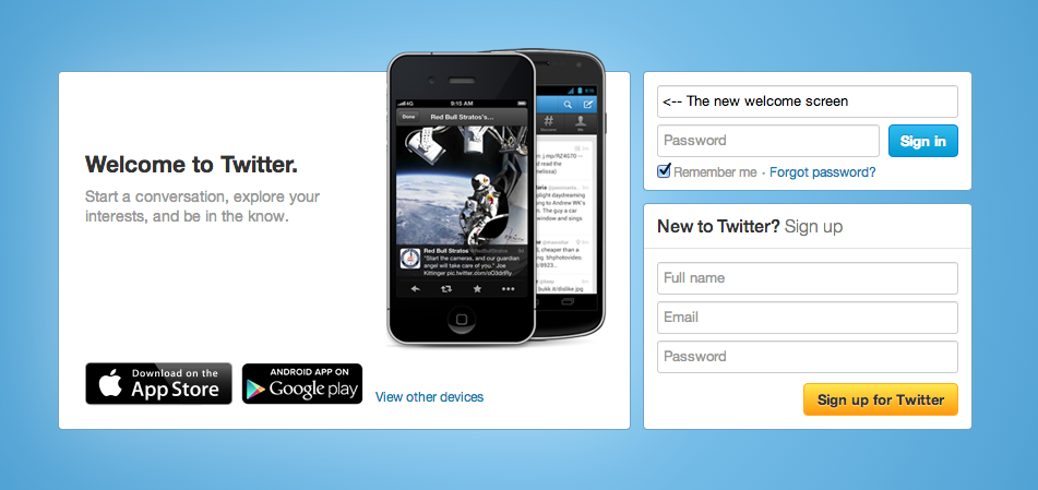 Twitter's new welcome page puts the spotlight on mobile, the primary driver of revenue for the company