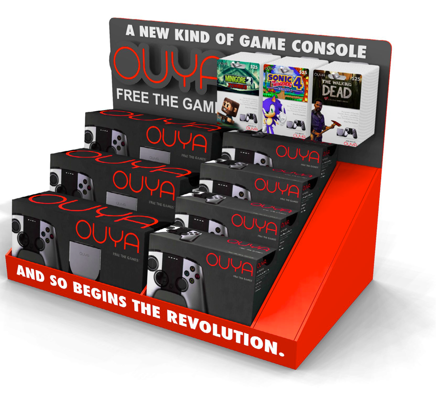 Ouya's custom retail display that gamers will find in Target stores.