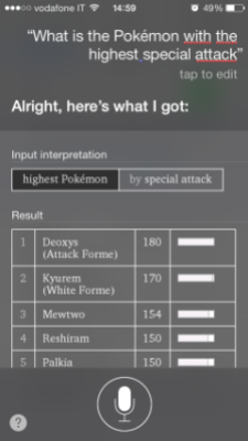 Siri will lay out the info for you as if it were a real Pokédex you got from Professor Oak.