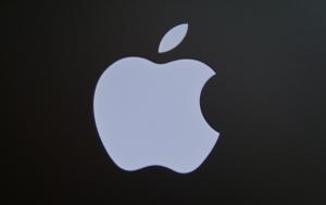 apple logo on grey
