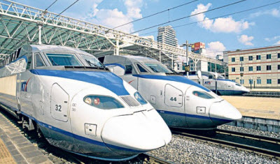 South Korean high-speed trains.