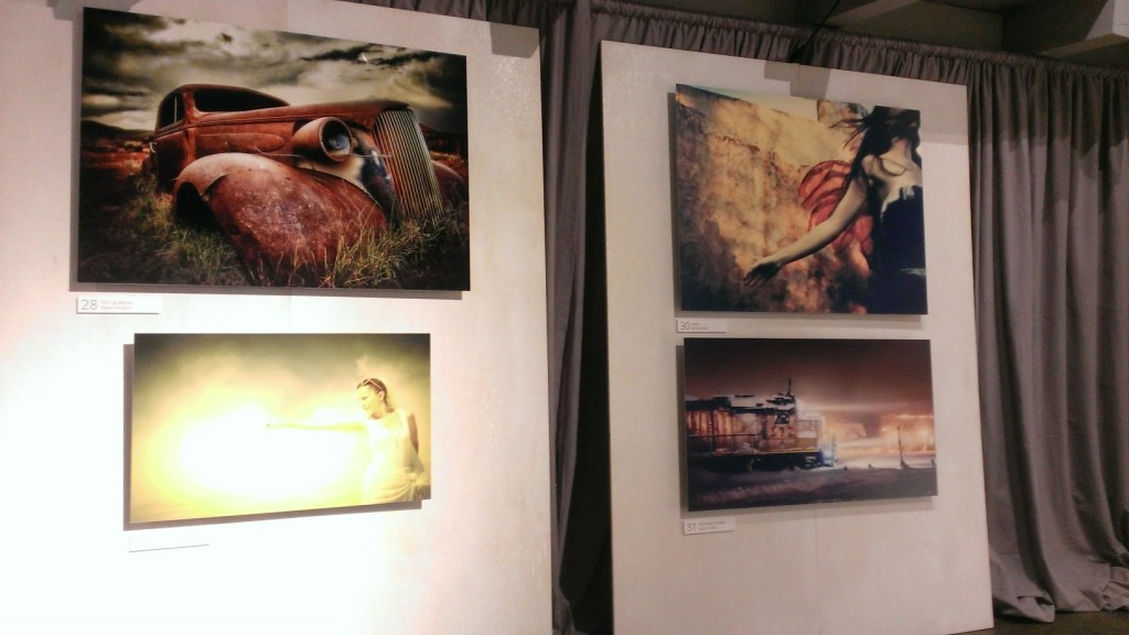 A collection of images from Google+ photogs adorns the wall at NWBLK gallery in San Francisco.