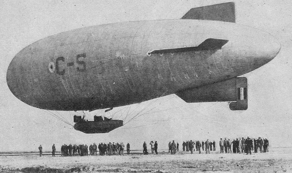 A 1919 magazine photo of an early airship.