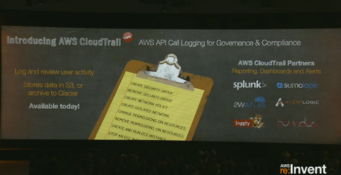 Andy Jassy, senior vice president of AWS, unveils CloudTrail onstage at AWS re:Invent in Las Vegas