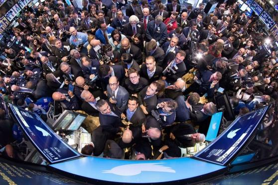 Twitter executives and investors at the NYSE as Twitter launches its IPO