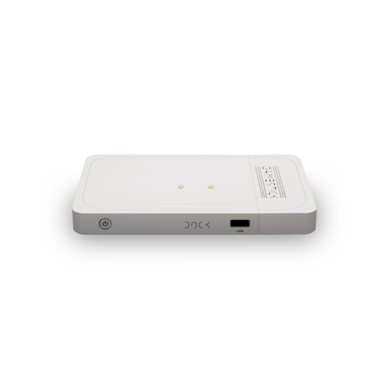The GameStick dock provides 64gb of extra storage and charges the controller wirelessly