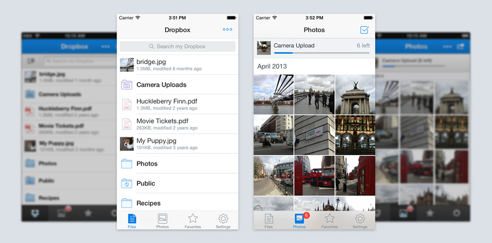 The new Dropbox apps for iPhone and iPad adopt iOS 7's minimalistic design.