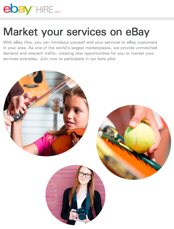 The eBay Hire site, in beta preview