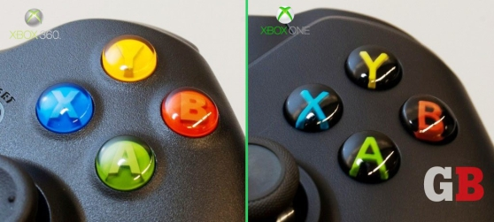 Face buttons: Xbox 360 vs. Xbox One controllers