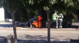 A Fisker Karma on fire in Woodside, Calif.