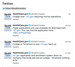 @Healthcaregov is the insurance exchange's official Twitter feed -- and it's dominated by notices of outages