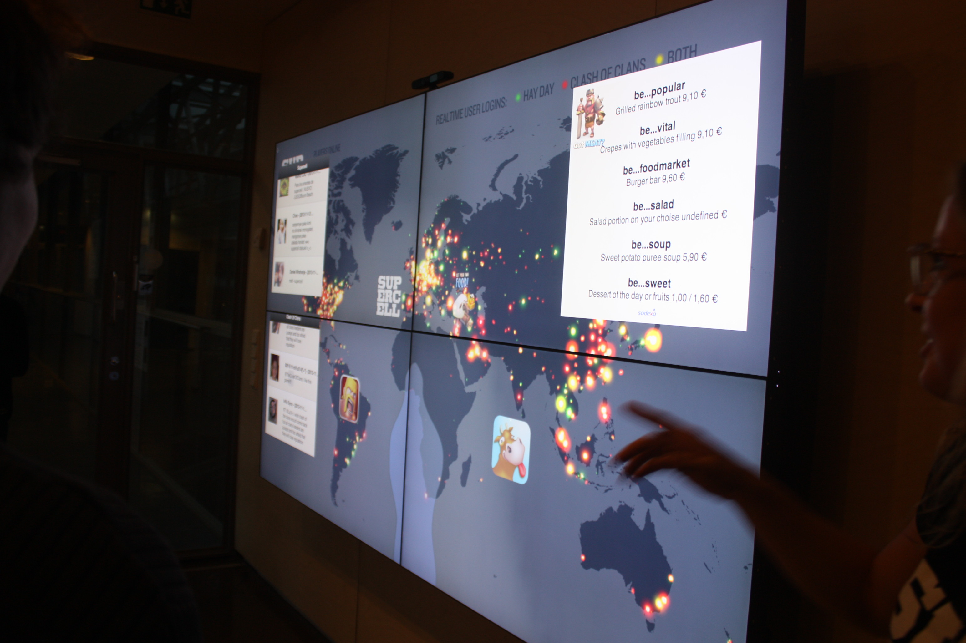 Supercell's entrance has a display that shows player activity around the world.
