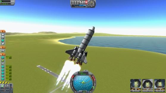A Kerbal Space Program launch.