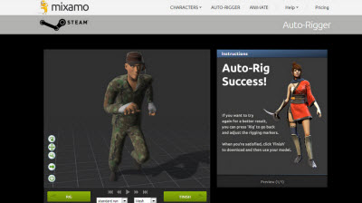 Mixamo's tool is available on Valve's Steam and it includes Valve characters.