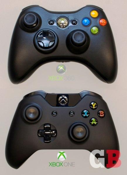 Overhead: Xbox 360 vs. Xbox One controllers