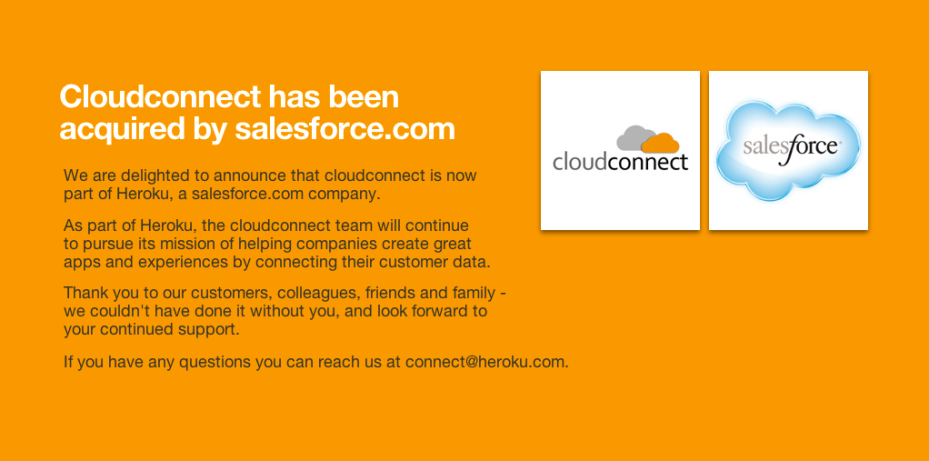 The note on Cloudconnect's homepage