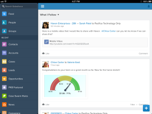 Salesforce1 navigation on iPad