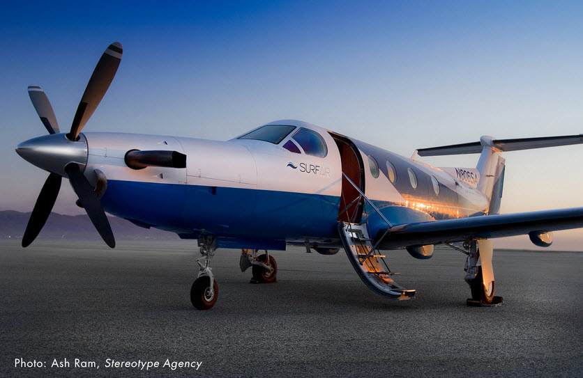 Surf Air flies Pilatus PC-12 turboprop aircraft.