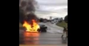 A Tesla Model S in flames, near Kent, Washington.