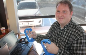 William Provancher of Tactical Haptics shows off the Reactive Grip a few years ago.