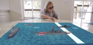 Atheer Labs' vision video shows how its glasses will let you play a virtual Battleship game on a real-world table.