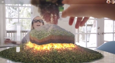 Atheer shows a virtual volcano that you can see with its augmented reality 3D glasses.
