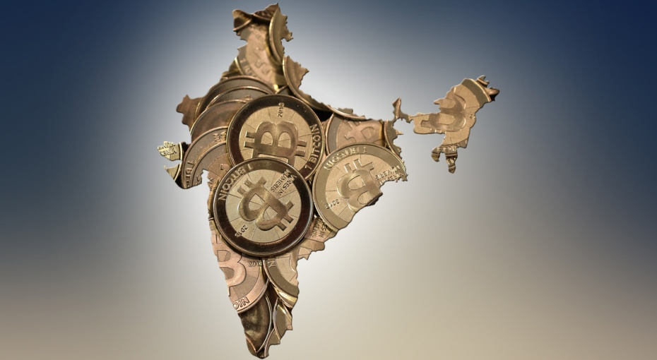 A map of India filled with Bitcoins.