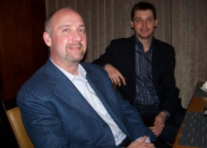 Dave Roberts, outgoing head of PopCap Games, and co-founder John Vechey in 2008.
