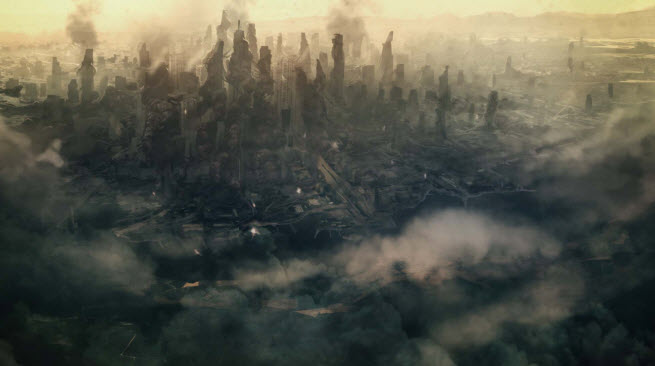 Scene from cinematic for Halo: Spartan Assault. It's bleak for humanity.
