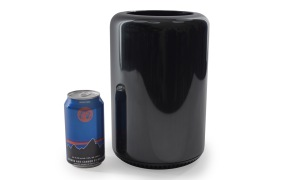 The new Mac Pro next to an aluminum beverage can