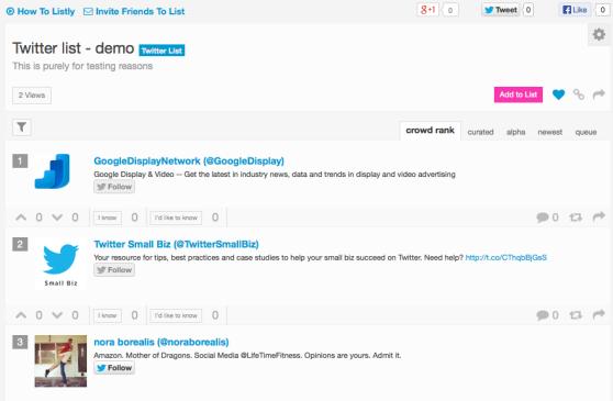 Twitter list on List.ly
