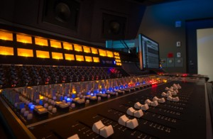 Mixing console at the PlayStation Music Studio. Sony has both 5.1 and 7.1 audio mixing and recording consoles.