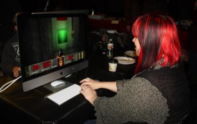 Game designer Terry Redfield plays Doom.