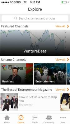 Umano's tech channel features audio stories from VentureBeat and other publications.