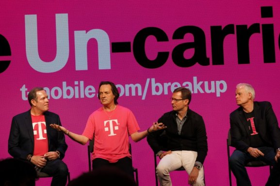 T-Mobile's exec team (with CEO John Legere second from the left)