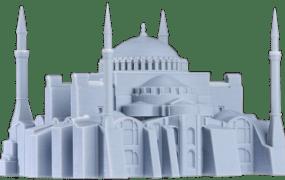 A 3D-printed model castle