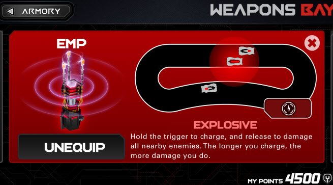 Anki Drive weapons screen.